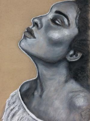 Sketchbook drawing #4 (Female upturned profile portrait)