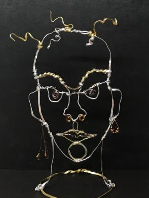 Wire portrait sculpture
