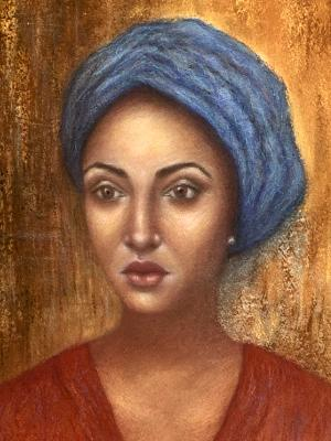 Woman in Blue Turban