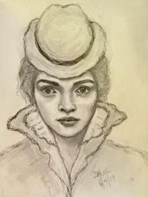 Sketchbook drawing #12 (Portrait study C)