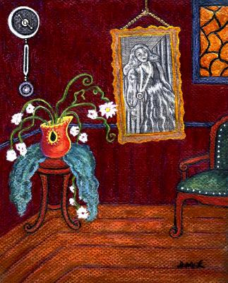 Portrait of Woman Askew in Red Room