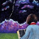 Reading Under Night Sky